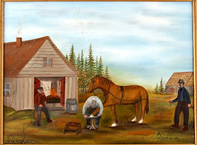 Cecile Gamache. Painting. Horse shoeing on the Farm.