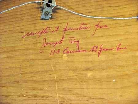 Joseph Roy. St. Jean, Quebec. Wood carver.His mark.
