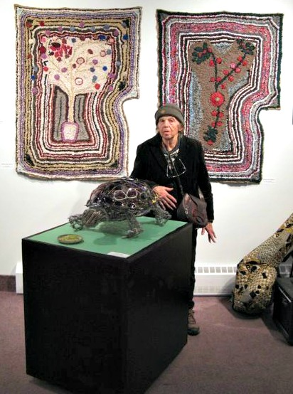 Madelaine Duguay-Monette. Fabric Artist. Rug Hooker. At one of her exhibitions. C. 2000