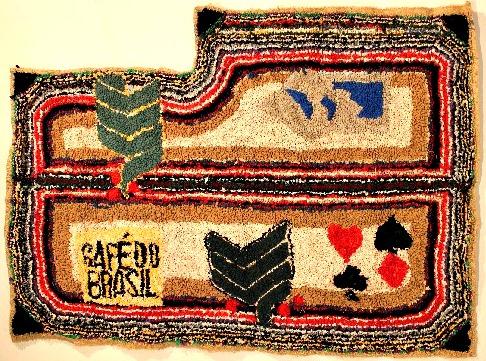 Madelaine Duguay Monette. Fabric Artist. Rug Hooker. Using the patterns in the jute coffee sacs.