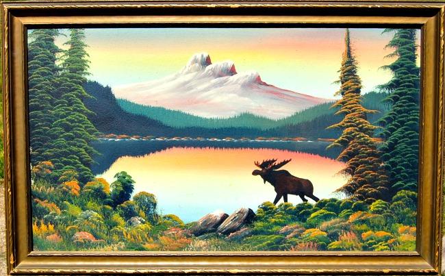 Levine Flexhaug. Landscape with Moose.
