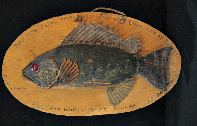R. B. Carving of a Black Bass. Quebec. 1960's.