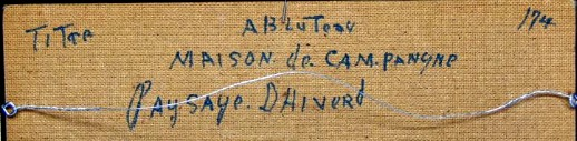 Title on reverse of 'Paysage D'Hiver'. Alban Bluteau.