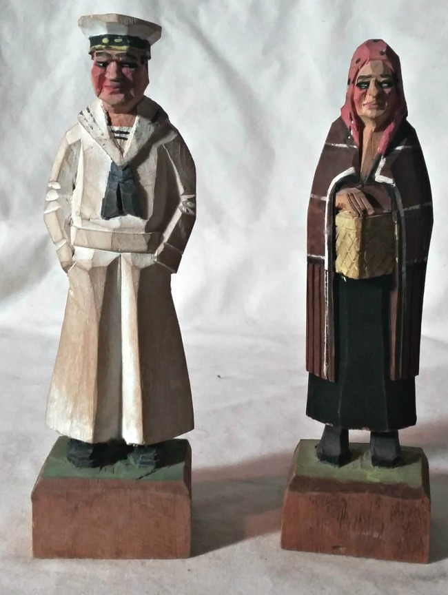 Eugene Sioui. Quebec City. Pair of figural Quebec flat-plane carvings. 1950's.