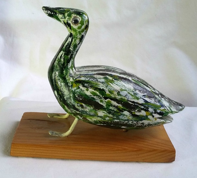 Raymond Levasseur. Gaspe, QC. Carving of a Bird. Green speckled. 1960's. Signed.